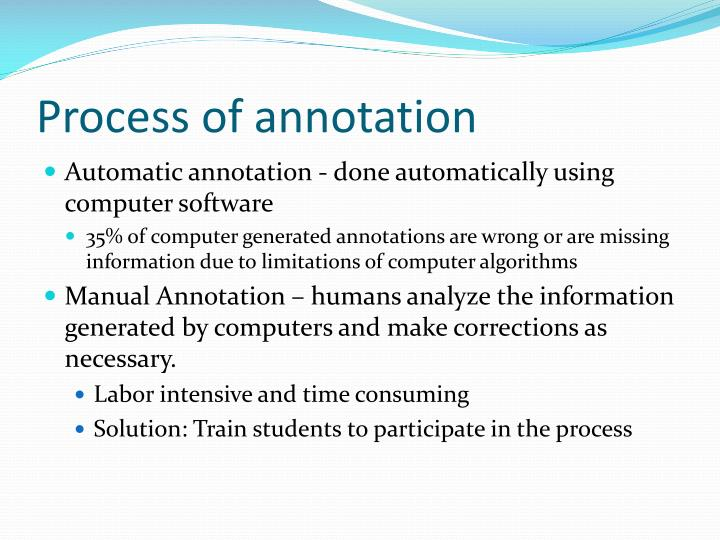 Process of annotation