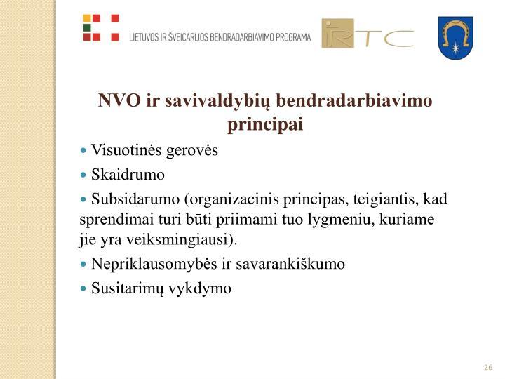 NVO ir savivaldybių bendradarbiavimo principai