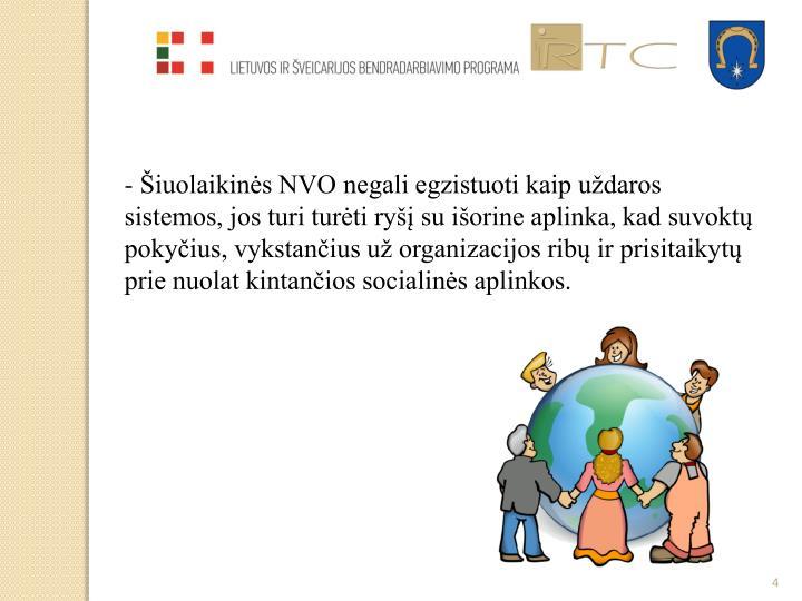 - Šiuolaikinės NVO negali egzistuoti kaip uždaros sistemos, jos turi turėti ryšį su išorine aplinka, kad suvoktų pokyčius, vykstančius už organizacijos ribų ir prisitaikytų prie nuolat kintančios socialinės aplinkos.