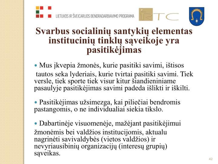 Svarbus socialinių santykių elementas institucinių tinklų sąveikoje yra pasitikėjimas