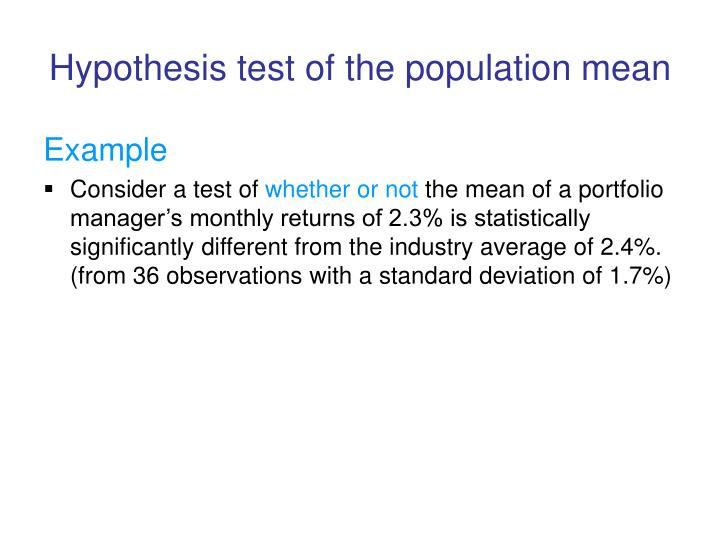 Hypothesis test of the population mean