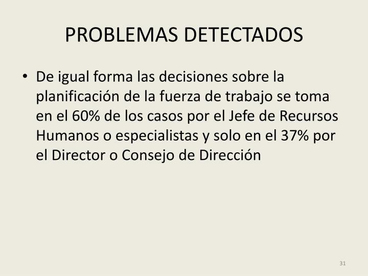 PROBLEMAS DETECTADOS