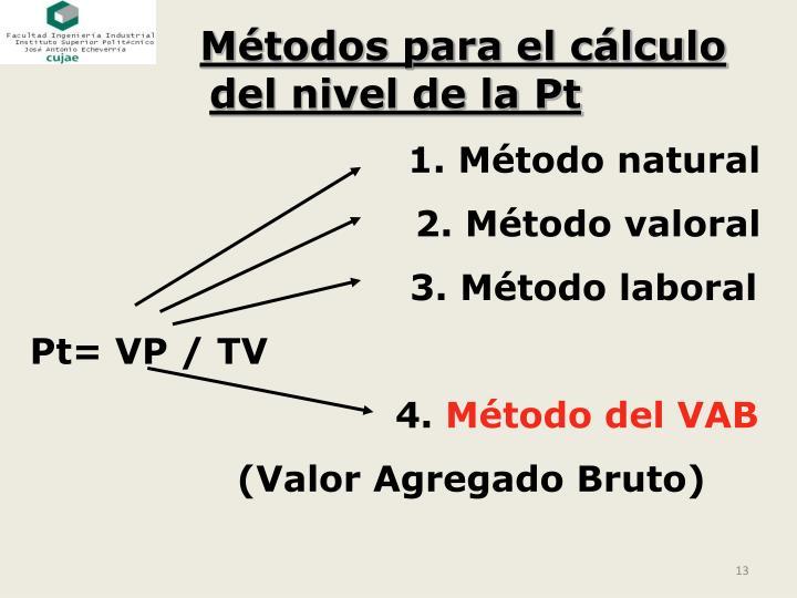 Métodos para el cálculo del nivel de la Pt