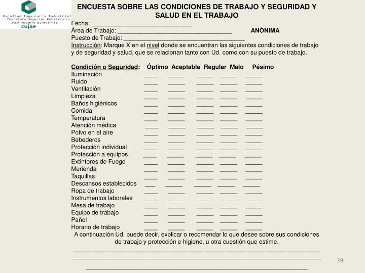 ENCUESTA SOBRE LAS CONDICIONES DE TRABAJO Y SEGURIDAD Y SALUD EN EL TRABAJO