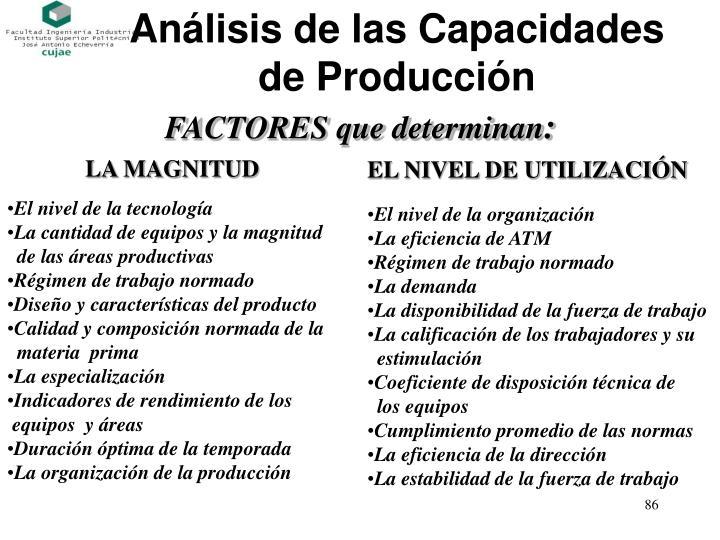 Análisis de las Capacidades de Producción
