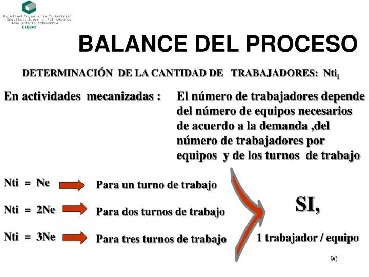BALANCE DEL PROCESO
