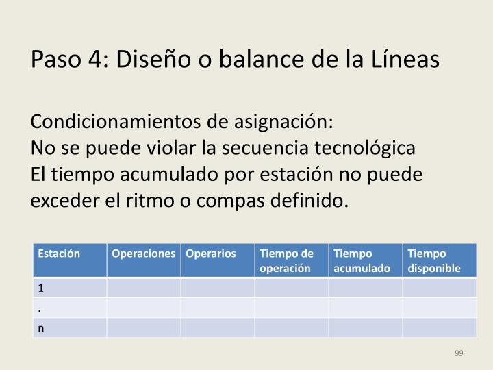 Paso 4: Diseño o balance de la Líneas