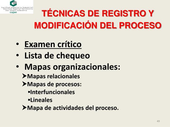 TÉCNICAS DE REGISTRO Y MODIFICACIÓN DEL PROCESO
