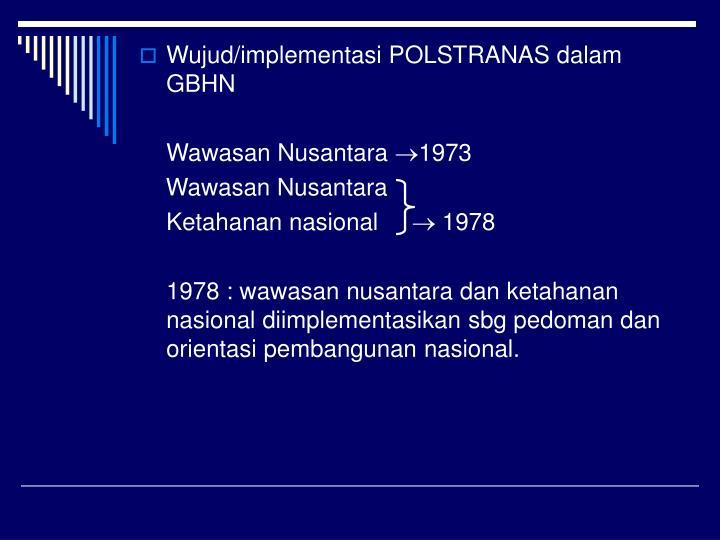 Wujud/implementasi POLSTRANAS dalam GBHN
