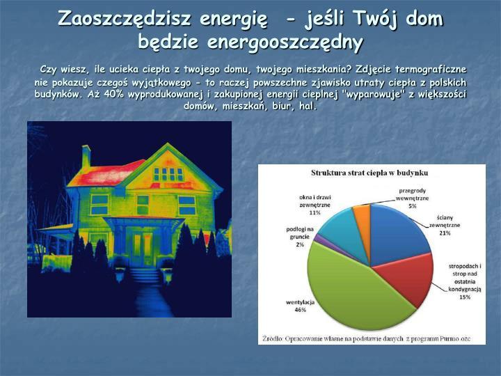 Zaoszczędzisz energię  - jeśli Twój dom będzie energooszczędny