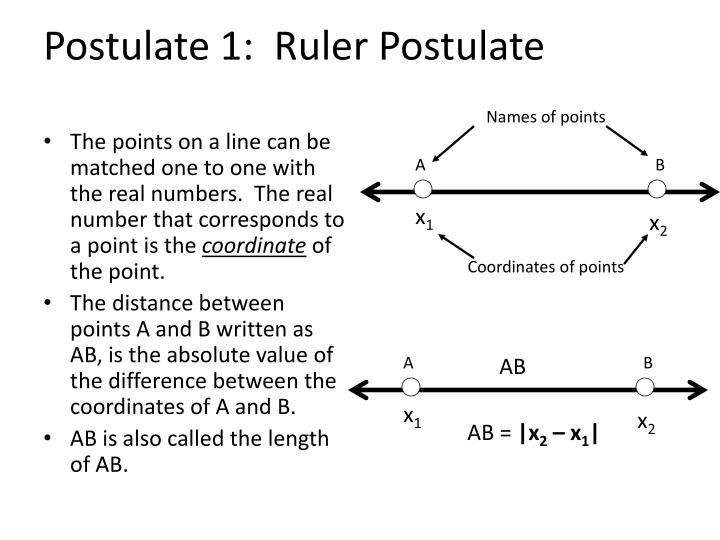 The points on a line can be matched one to one with the real numbers.  The real number that corresponds to a point is the