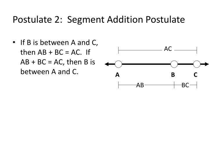 If B is between A and C, then AB + BC = AC.  If AB + BC = AC, then B is between A and C.