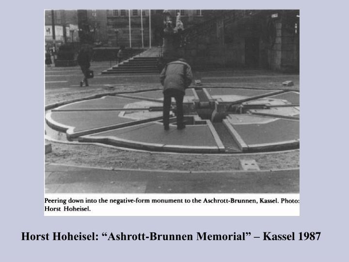 """Horst Hoheisel: """"Ashrott-Brunnen Memorial"""" – Kassel 1987"""