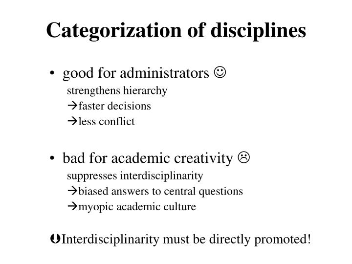 Categorization of disciplines