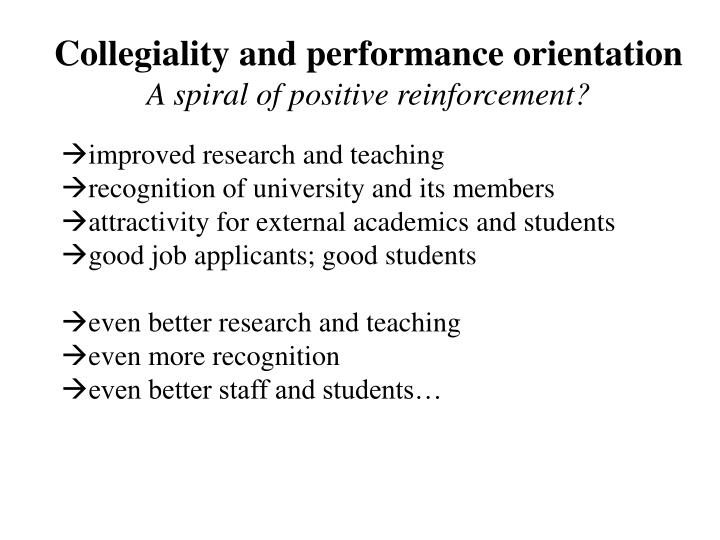 Collegiality and performance orientation