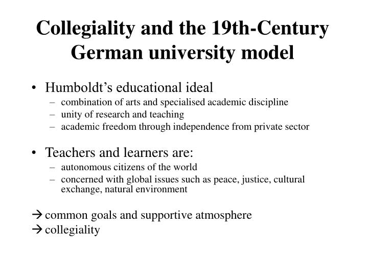 Collegiality and the 19th-Century German university model