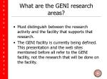 what are the geni research areas