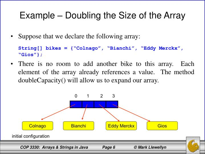 how to change the size of an array in java