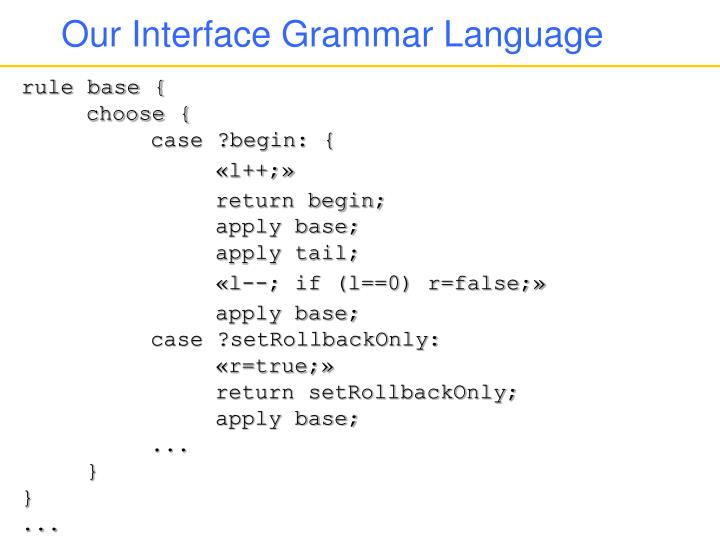 Our Interface Grammar Language