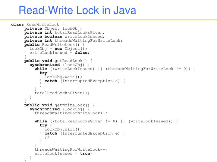 Read-Write Lock in Java