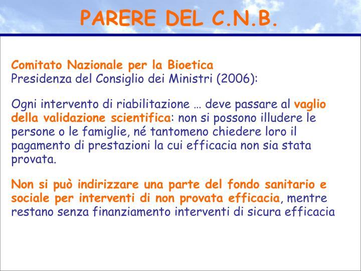 PARERE DEL C.N.B.