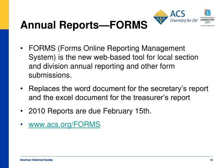 Annual Reports—FORMS