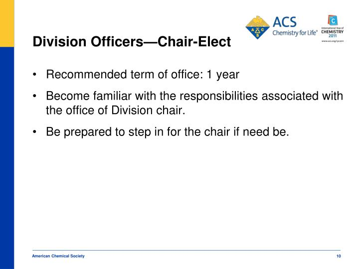 Division Officers—Chair-Elect