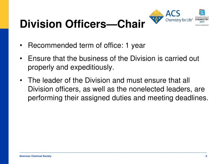 Division Officers—Chair