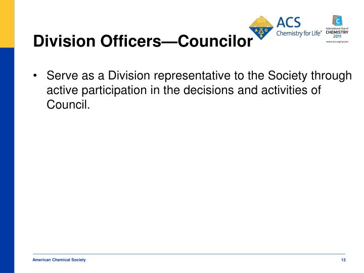 Division Officers—Councilor