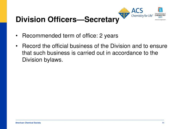 Division Officers—Secretary