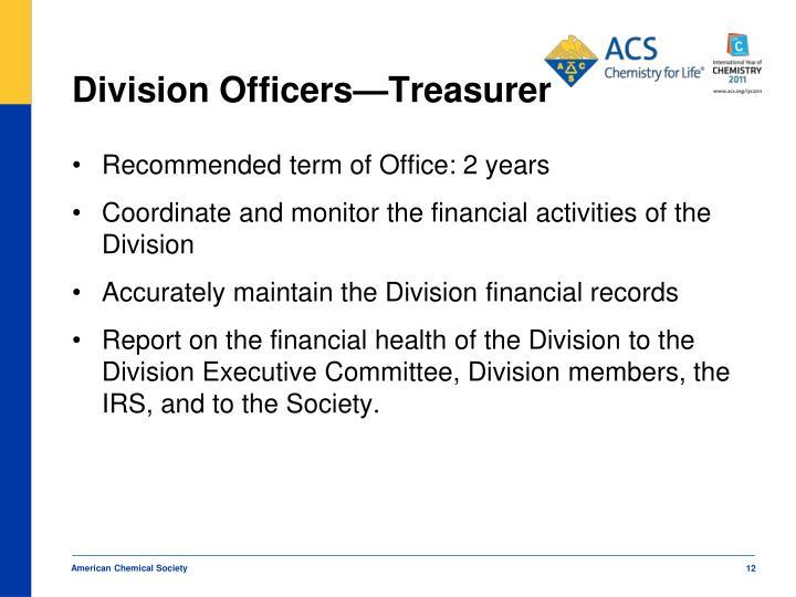 Division Officers—Treasurer