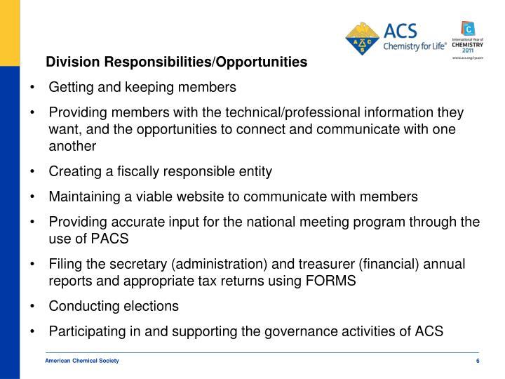 Division Responsibilities/Opportunities