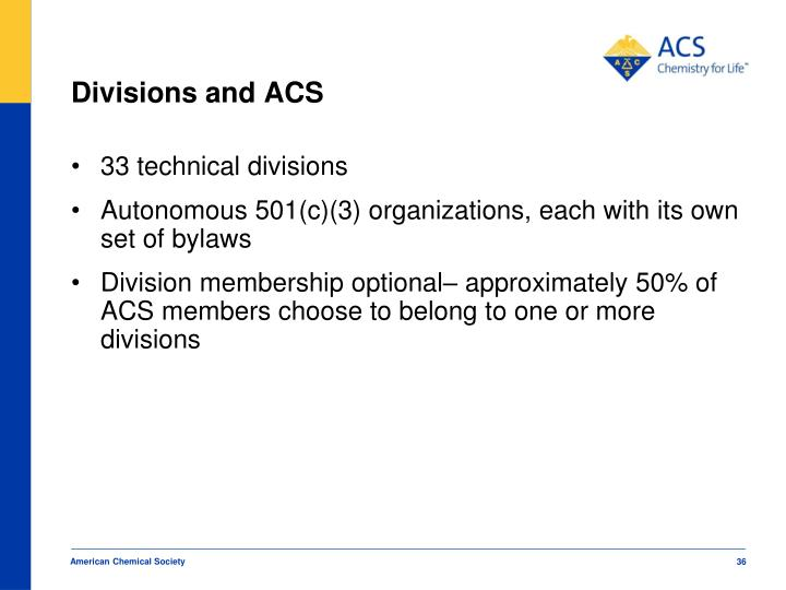 Divisions and ACS
