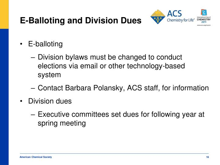 E-Balloting and Division Dues