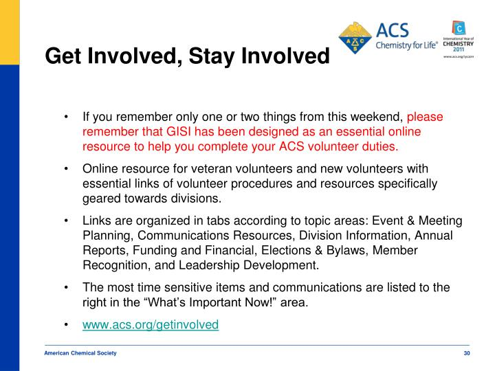 Get Involved, Stay Involved