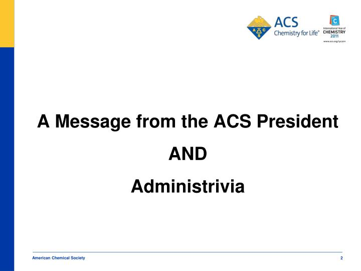 A Message from the ACS President