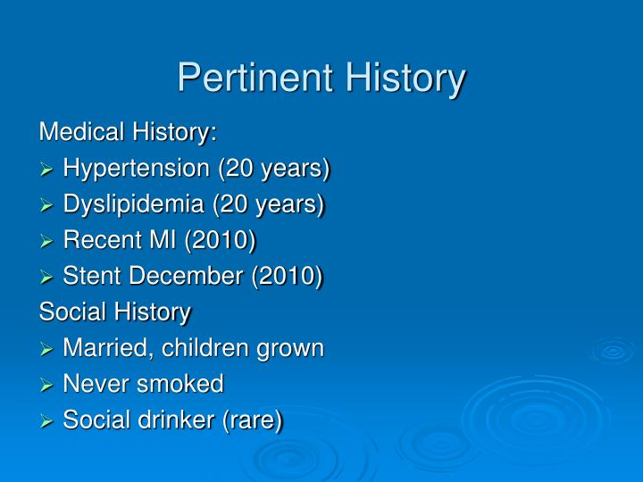 Pertinent History