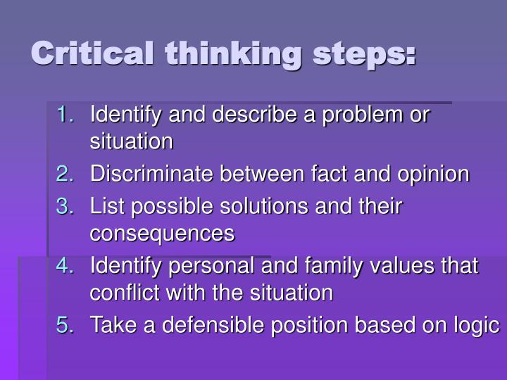 Critical thinking steps: