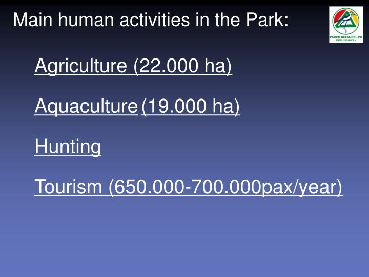 Main human activities in the Park: