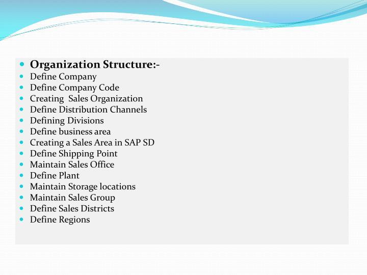 Organization Structure:-
