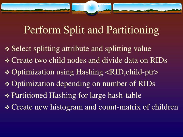 Perform Split and Partitioning