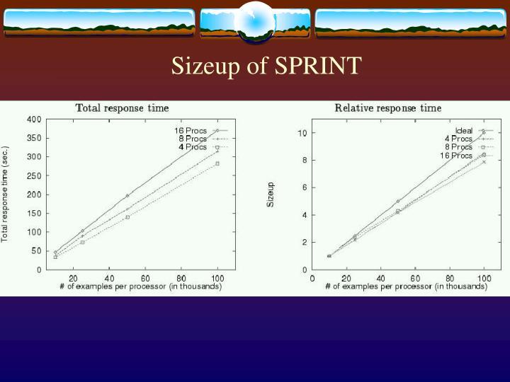 Sizeup of SPRINT