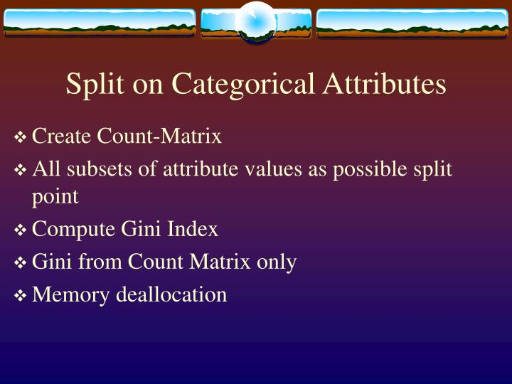 Split on Categorical Attributes