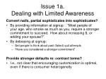 issue 1a dealing with limited awareness
