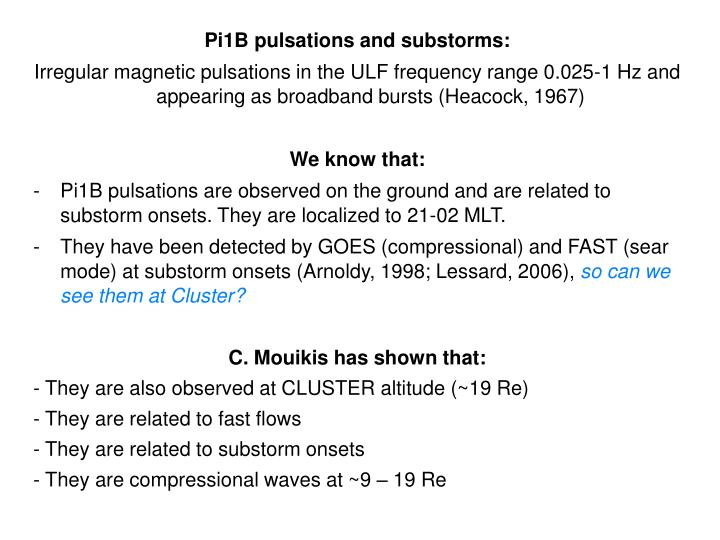 Pi1B pulsations and substorms: