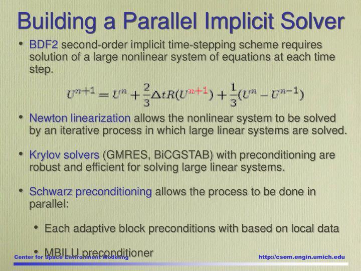 Building a Parallel Implicit Solver