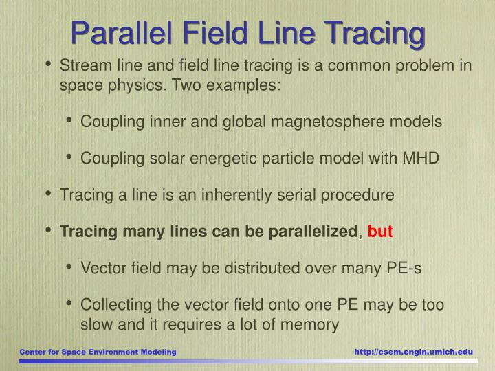 Stream line and field line tracing is a common problem in space physics. Two examples: