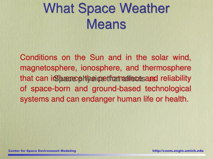 What Space Weather Means