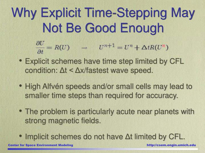 Why Explicit Time-Stepping May Not Be Good Enough