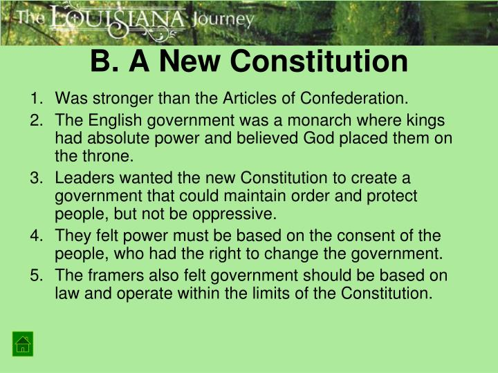 B. A New Constitution